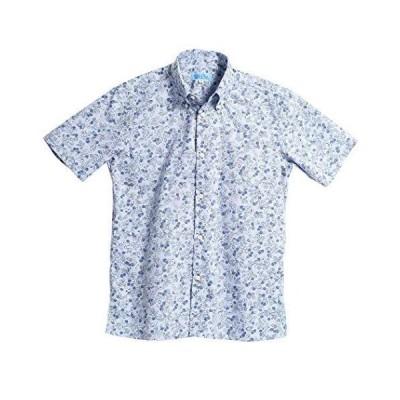 [MAJUN (マジュン)] 国産シャツ かりゆしウェア アロハシャツ 結婚式 メンズ 半袖シャツ ボタンダウン キイチゴマダラ パープル