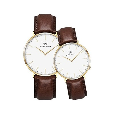 Welly Merck Couple Watches Valentines Day Gifts for Her and His Pair Watch Classic Series Swiss Quartz Movement 36 & 42 mm Dial Dark Brown L