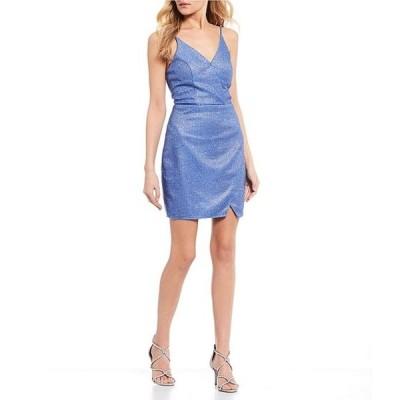 シークインハーツ レディース ワンピース トップス V-Neck Checker Shimmer-Shine Faux-Wrap Dress