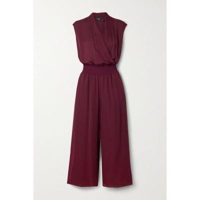 セオリー Theory レディース オールインワン ジャンプスーツ ワンピース・ドレス cropped wrap-effect silk crepe de chine jumpsuit Bordeaux