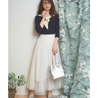 Noela 【andGIRL5月号掲載/andGIRL4月号掲載】チュールマキシスカート(オフホワイト)【返品不可商品】