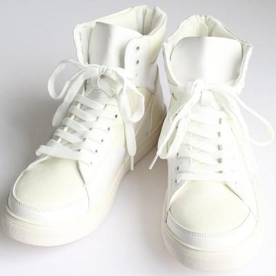 ハイカットスニーカー メンズ PUレザー ZIP ブーツ モード系 ストリート ホワイト 白 サイド ZIP 個性的 靴 シューズ 中性的 ユニセックス レディース