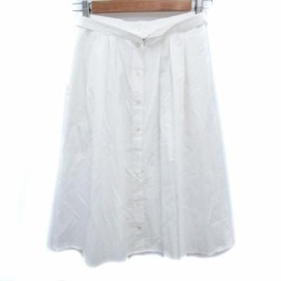 【中古】ボールジー トゥモローランド スカート フレア ギャザー ミモレ丈 ベルト付き 36 白 /FF23 レディース