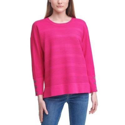 カルバンクライン ニット&セーター アウター レディース Striped Button-Sleeve Sweater Cerise