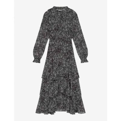 マージュ MAJE レディース ワンピース マキシ丈 ワンピース・ドレス Ruffo dot-print silk-blend maxi dress BLACK WHITE