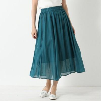 綿ボイル無地スカート ブルーグリーン M L LL