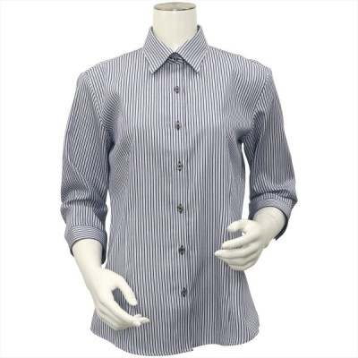 レディース ウィメンズシャツ 七分袖 形態安定 レギュラー衿 綿100% ネイビー×白ストライプ