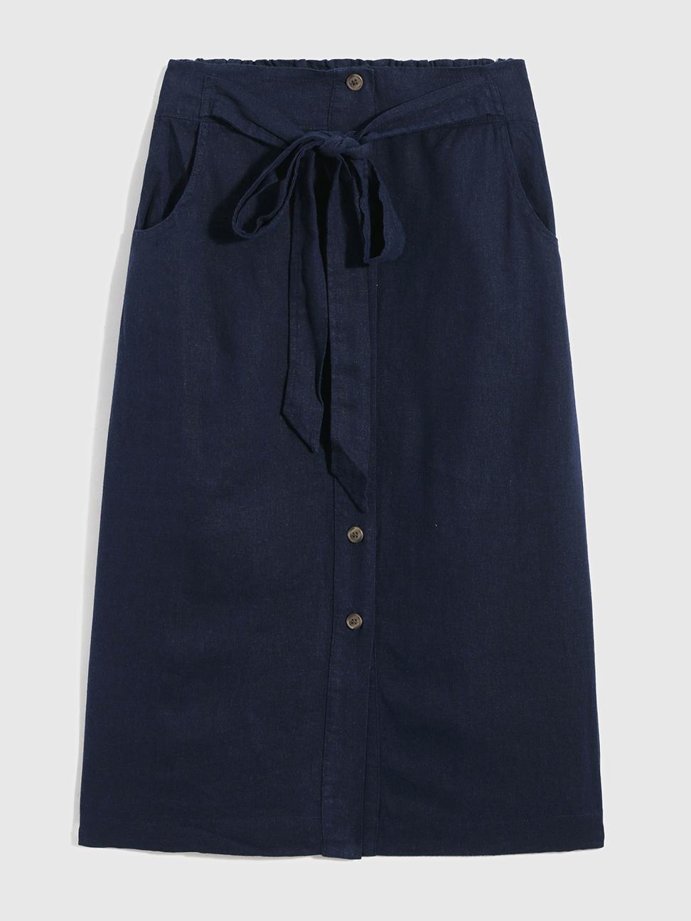 女裝 亞麻混紡單排扣半身長裙