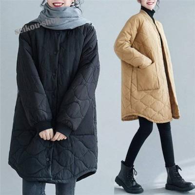アウター レディース ノーカラー ダウンコート キルティング 長袖 大きいサイズ キルティングアウター キルティングコート コート ロング カジュアル