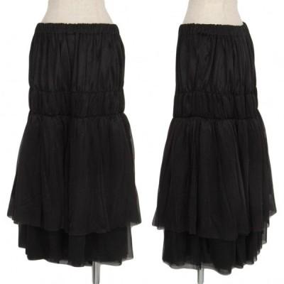 コムコム コムデギャルソンCOMME des GARCONS ナイロンシフォン製品染めギャザーレイヤードスカート 黒M 【レディース】