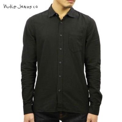 ヌーディージーンズ シャツ メンズ 正規販売店 Nudie Jeans 長袖シャツ  HENRY BATISTE GARMENT DYED 140426 3011 BLACK