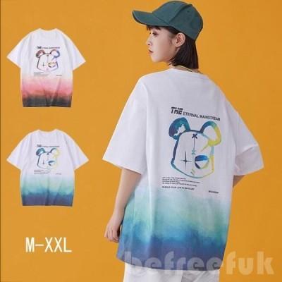 Tシャツ レディース 半袖tシャツ ゆったり ロンT ロングtシャツ プリント 熊 クマ トップス 大きいサイズ 6colors ルームウエア 部屋着 体型カバー 春夏