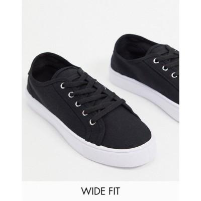 エイソス レディース スニーカー シューズ ASOS DESIGN Wide Fit Dizzy lace up sneakers in black Black