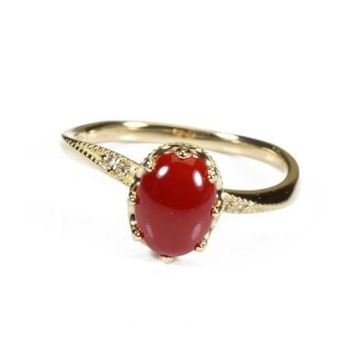 血赤珊瑚 高知県産 リング 指輪 K18 イエローゴールド 無染色 SANSUI