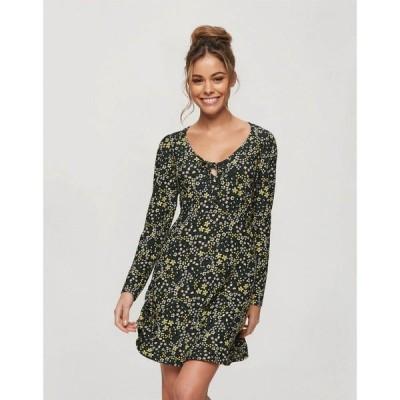 ミス セルフリッジ Miss Selfridge レディース ワンピース ワンピース・ドレス ditsy fit and flare dress in black ブラック