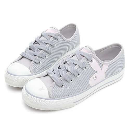 PLAYBOY 簡約率性 兔頭條紋帆布鞋-灰(Y7211)
