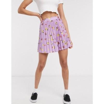 エイソス ASOS DESIGN レディース ミニスカート スカート pleated mini skirt in purple floral print パープル