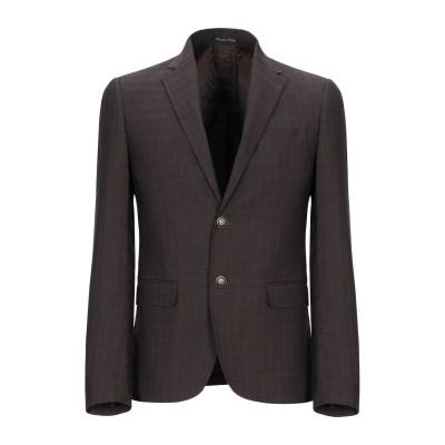 EREDI DEL DUCA テーラードジャケット ダークブラウン 46 ポリエステル 65% / レーヨン 32% / ポリウレタン 3% テーラ