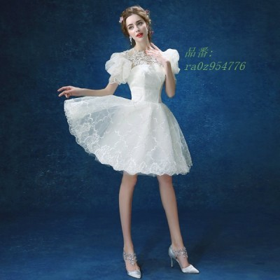 ウェディングドレス ミニ カラードレス ウエディングドレス 花嫁 二次会 パフスリーブ ドレス ワンピース 成人式 結婚式 コンサート 可愛い パーティー