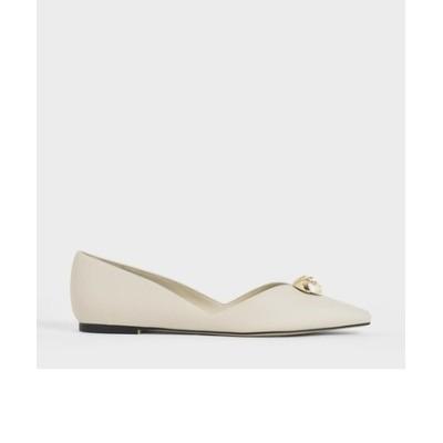 エンベリッシュド ドルセイバレリーナフラット / Embellished D'Orsay Ballerina Flats