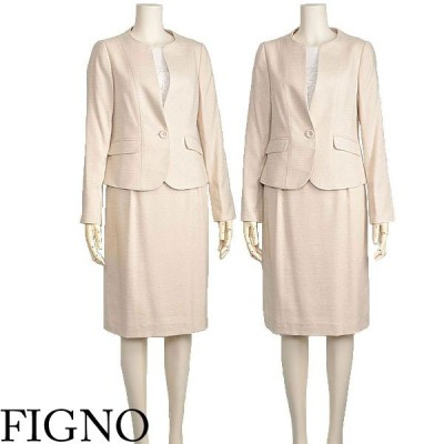 卒業式 入学式 スーツ ツイード セットアップ 母 ママ ベージュ 9 11 FIGNO 40代