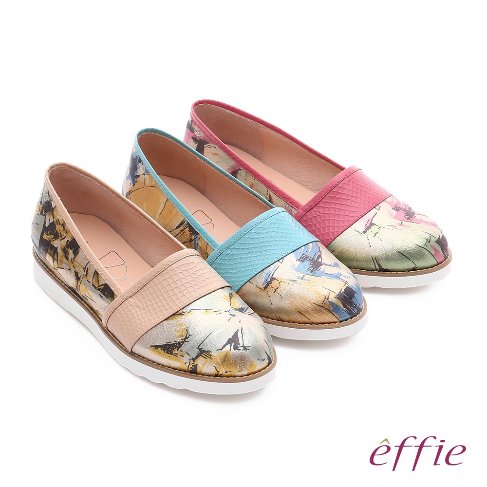 【A.S.O阿瘦】休閒摩登 壓紋真皮閃色印刷布休閒鞋-淺藍/桃粉紅/卡其