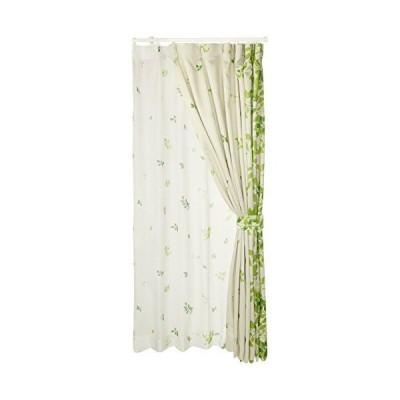 (ベルーナ)BELLUNA 絵羽柄遮光カーテン&同柄ボイルセット リーフ 約幅100×丈200cm(各2枚)