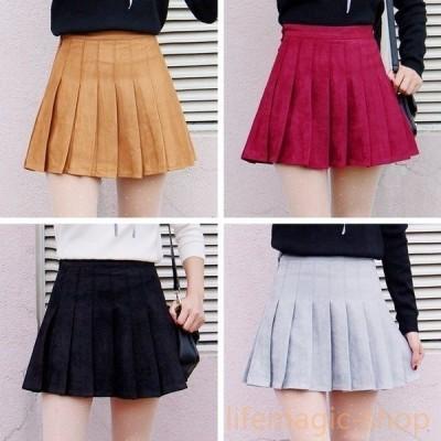 冬スエードプリーツカレッジ風短いスカート
