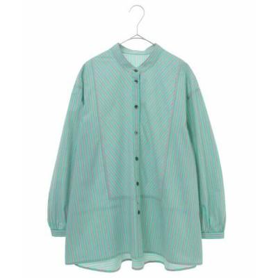 HIROKO BIS/ヒロコビス 【洗濯機で洗える】オリジナルストライプシャツ グリーン L