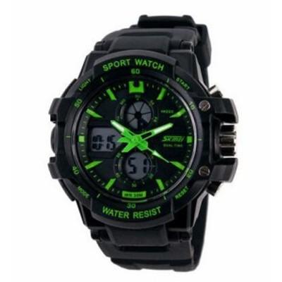 腕時計 スポーツ カジュアル 子供用 SKMEI LEDディスプレイ グリーン