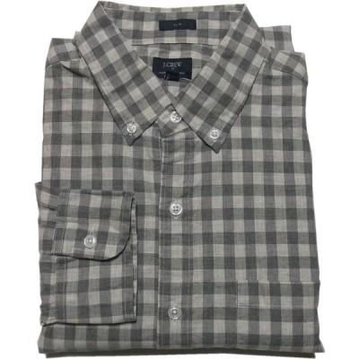 ジェイクルー 長袖 ボタンダウンシャツ チェック グレー メンズ J.CREW 037