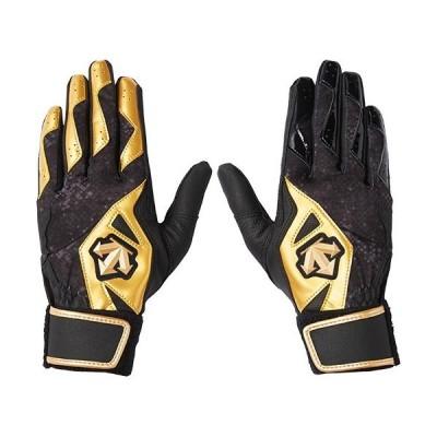 デサント(DESCENTE) ジュニア 野球 バッティンググラブ 両手用 ブラック×ゴールド×ブラック DBBNJD02J BK バッティンググローブ バッターズグローブ 手袋