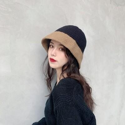 ネットレッド カーディガン 漁師帽 女性 秋冬 日系 韓国版 オールマイド 冬 ニット 毛糸 帽子 可愛い 保温 カラー合わせ