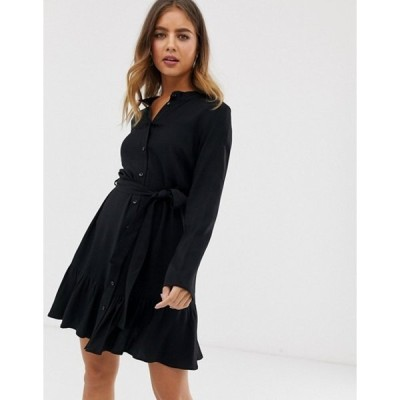 エイソス レディース ワンピース トップス ASOS DESIGN belted mini shirt dress with pephem