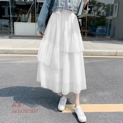 チュールスカート スカート春 スカート スカートコーデ ボ スカート 可愛い マキシ丈スカート 体型カバー ふわふわ レディース ウエストゴム