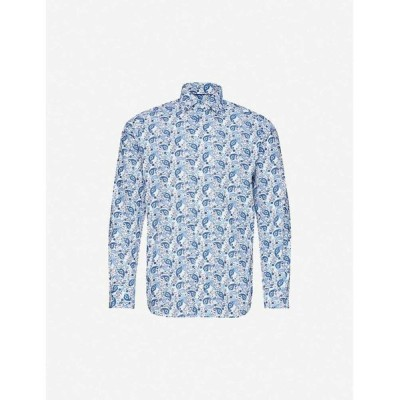 イートン ETON メンズ シャツ トップス Floral-print contemporary-fit cotton shirt Blue