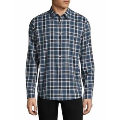 セオリー メンズ カジュアル ボタンダウンシャツ Plaid Cotton Button-Down Shirt