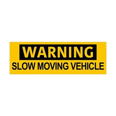 American Vinyl Warning Slow Moving Vehicle Bumper Sticker (Safety Driving T