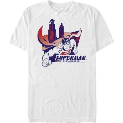 フィフス サン Fifth Sun メンズ Tシャツ トップス DC Superman Flying Over The City Short Sleeve T-Shirt White