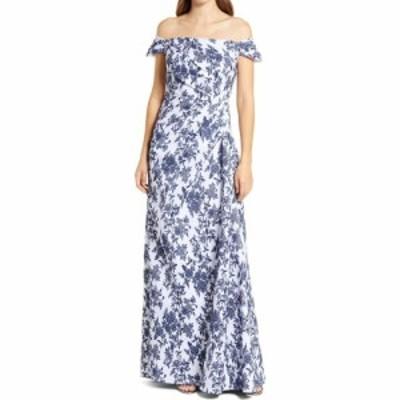 タダシショージ TADASHI SHOJI レディース パーティードレス ワンピース・ドレス Floral Jacquard Off the Shoulder Gown Navy/Ivory