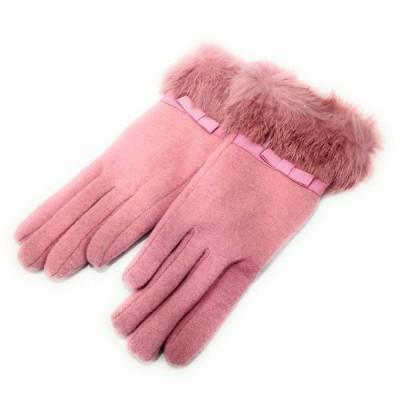 手袋 リボンのワンポイント 五本指 エレガント ファー ピンク