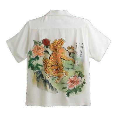 MAKANALEI ハンドペイント アロハシャツ 獅子 柄 SHISHI 手描き メンズ レディース ハワイアン 半袖アロハシャツ シルク100%