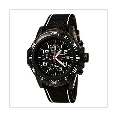 Armourlite Professional Series Black Chronograph Watch Black & White Kevla Band並行輸入品