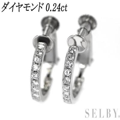 Pt900 ダイヤモンド イヤリング D0.24ct フープ SELBY