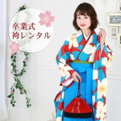 卒業式 袴 レンタル 袴セット 女性 卒業式袴セット 「赤地に白い花」 レトロ