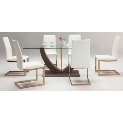 送料無料 ダイニング7点セット ダイニングテーブル 椅子6脚 食卓テーブル 強化ガラス ホワイト(シャンパン)