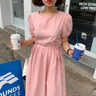 韓国 ファッション レディース ワンピース パフスリーブ リボン ハイウエスト フレア 半袖 無地 ゆったり 大人可愛い フェミニン 春夏