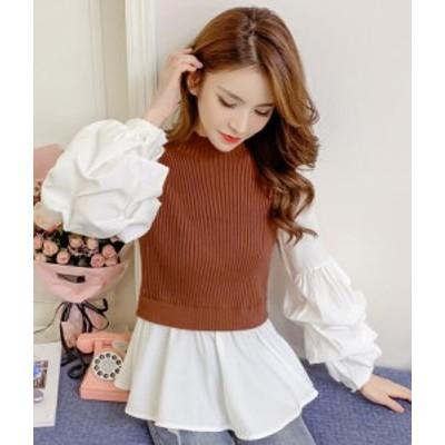 韓国ファッション 切り替えパフスリーブTシャツ春秋に使うゆったり レディース Tシャツ 大人気 体型カバーにぴったり 着痩せ