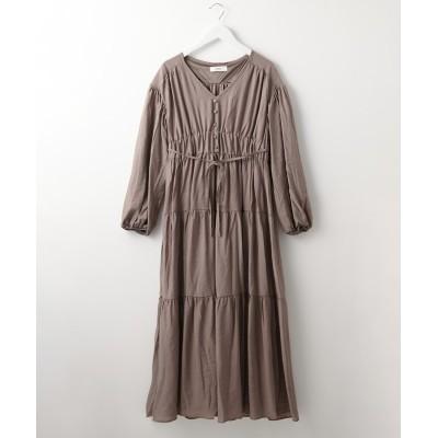 ティアード切替がかわいい◎微光沢素材ロングワンピース (ワンピース)Dress
