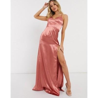 クラブエルロンドン レディース ワンピース トップス Club L cami strap satin maxi dress with thigh split in dusky pink Dusky pink
